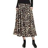 Sylar Falda Larga Plisada para Mujer Faldas De Fiesta Elegantes Casual Cintura Elástica A-Line Falda Plisada con Estampado De Leopardo Talla Grande XXXL