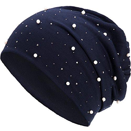 Compagno Slouch Beanie mit Perlen aus atmungsaktivem, feinem und leichten Jersey Unisex Damen Mütze Haube Boho Bini Mädchen Einheitsgröße, Farbe:Marineblau