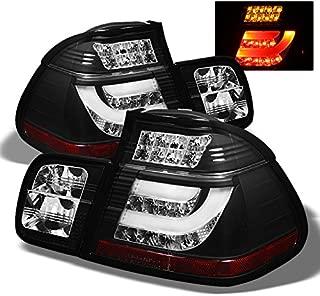 For BMW E46 3-Series 325 330 4Dr Sedan Black Bezel Light Tube LED Tail Lights Driver/Passenger Lamps