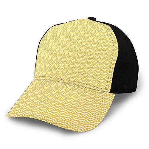 Gorra de béisbol lisa lavada, inspirada en el océano, abstracto, estilo vintage, adorno lineal, estilo asiático, retro, ajustable, regalo para hombres y mujeres