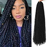 Passion Twist Hair,10 Packs Water Wave Crochet Hair For Black Women, Bohemian Spring Twist Hair Curly Crochet Braiding Hair For Butterfly Locs Crochet Braids Synthetic Hair Extensions (1B#,22inch)