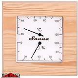 Finnline Weigand Sauna Klimamesser QWADRAT I ca. 17,6 x 17,6 cm großes Thermometer und Hygrometer für Sauna und Infrarotkabine in schönem Holzrahmen I Nachjustierbar I Saunazubehör I 225thp -