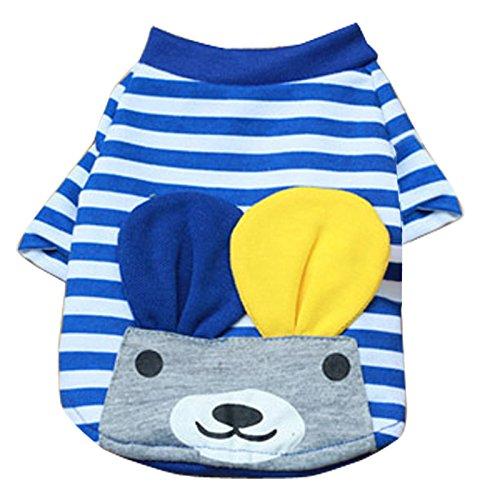 MagiDeal Haustier Hund Kleine Gestreifte Hund Katze Weste T-Shirt Sommer Bekleidung Kleidung - Blau, XL