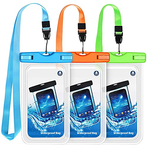 Bolsa Impermeable para teléfono 3 Paquetes IPX8 Bolsa Seca subacuática Impermeable con cordón portátil Compatible con iPhone 11/XS/XS Mas/XR/X/8/7/7 Plus/6s/6s Plus, Galaxy S10/S9 hasta 6.8 Pulgadas