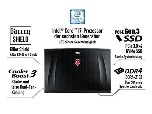 MSI GE62-6QD16H11 39,6 cm (15,6 Zoll) Notebook (Intel Core i7 -6700HQ (Skylake), 16GB DDR4 RAM, 1TB HDD, 128GB SSD, NVIDIA Geforce GTX 960M, Win 10...