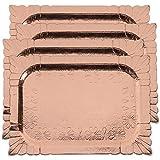 4 (pk) Yumchikel Disposable Heavy Duty Rose Gold Trays Paper Cardboard   Rectangular Fancy Serving Buffet Platter Set for Dessert Table, Cupcake, Weddings, Brunch, Parties, Baby Showers   (Rose Gold)