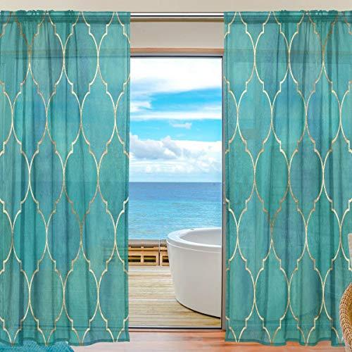 Emoya Voile-Vorhang für Fenster, Vintage-Stil, marokkanisch, goldfarbene Linien, für Wohnzimmer, Esszimmer, 140 x 198 cm, 2 Stück, Textil, multi, 2 x 55