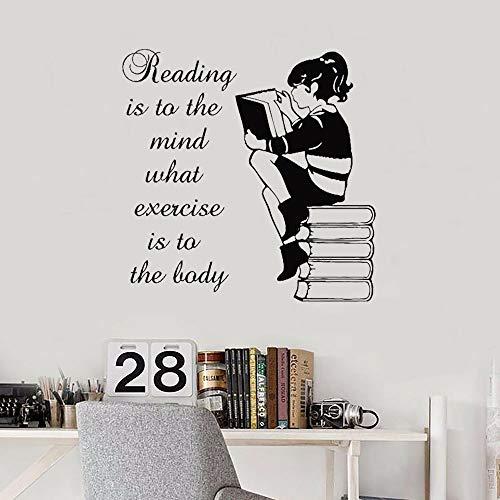 Calcomanía de vinilo para pared de niña de lectura libro de lectura dormitorio biblioteca librería pegatina librería Art Deco Mural regalo