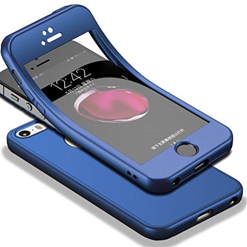 Für iPhone SE Hülle + Panzerglas, HICASER 360 Grad Komplettschutz Vorder und Rückseiten Schutz Schale Ganzkörper-Koffer Soft TPU Schutzhülle für iPhone 5 / 5s Blau