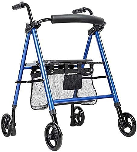 Caminantes para personas mayores Walker, caminante plegable de cuatro ruedas Ayudas de altura ajustable Ayudas para caminar Ayudas Ancianos Compras de aluminio Caminando por aluminio Carrito de la com