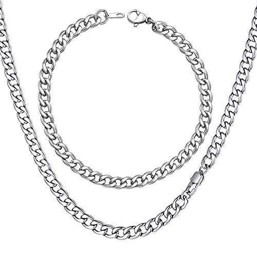 """WELRDFG Men Chain Jewelry 5mm/6mm/7mm Wide Stainless Steel Snake chain 18K Gold Plated Figaro Chain Set (Bracelet 8.3 Inch, Necklace 18"""" 22"""" 26"""" 28"""" ) (Cuban chain stainless steel (5mm wide), 18.0)"""