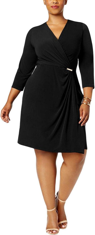 Charter Club Plus Size FauxWrap Dress in Deep Black