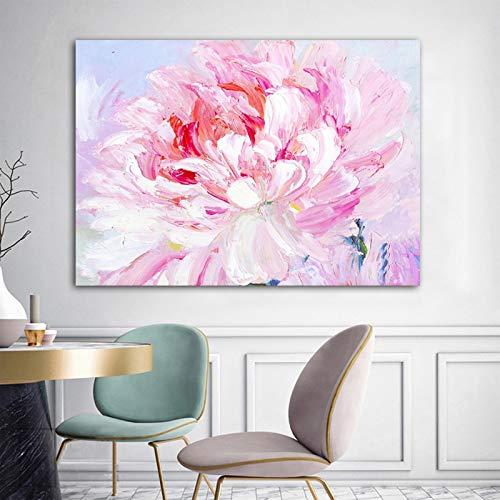 wZUN Carteles e Impresiones de Flores Rosadas Pintura Abstracta en Lienzo decoración de la Sala de Estar Pintura 60x80 Sin Marco