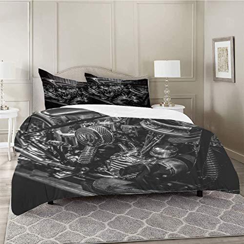 Harley Davidson - Juego de cama doble reversible para cama de matrimonio, 3 piezas, microfibra hipoalergénica, 152 x 203 cm