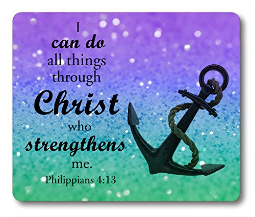Christian Quotes Mouse Pad Anchor Bible Verse Philippians 4:13 I can do All Things Through Christ who Strengthens me Non-Slip Rubber Mouse pad