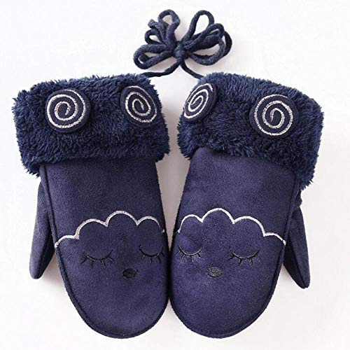 GUANAI Gant Winter Thick Warm Cartoon Leather Gloves Boys/Girls Imitation Gloves Dark Blue Single Size