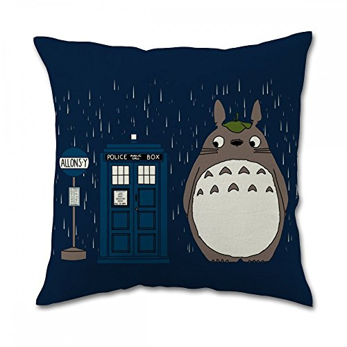 Tardis Dr Who Totoro Pillow Covers (18x18 inch one side)