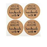 Apple Pie Moonshine Labels by Once Upon Supplies, Moonshine Bottle Stickers, 2 Inches Size for Regular Mouth Mason Jars, 40 Pcs