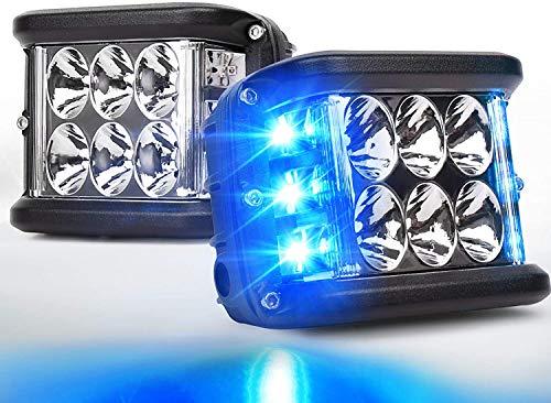 AIHOUSE Seitenschützen, LED-Pods Licht 36W Off Road Dual Side DRL mit Flash-Strobe-Funktion Fahren Flood Spot Cube Arbeitslichtleiste für LKW ATV-Boot,Blau