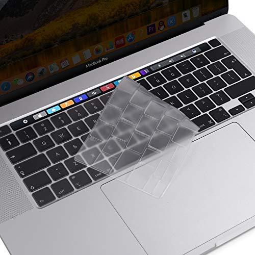 MOSISO Tastaturschutz Kompatibel mit 2020 MacBook Pro 13 Zoll A2338 M1 A2251 A2289 & 2019 MacBook Pro 16 Zoll A2141 mit Touch ID & Retina Display, Schützende Silikonhaut, Transparent
