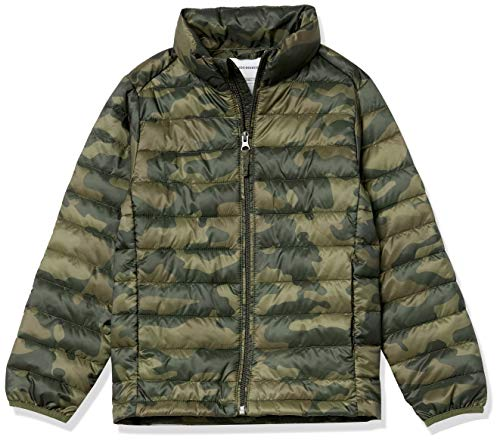 Amazon Essentials Chaqueta Ligera Impermeable para niño Outerwear-Jackets, Camuflaje Oliva, 11-12 años