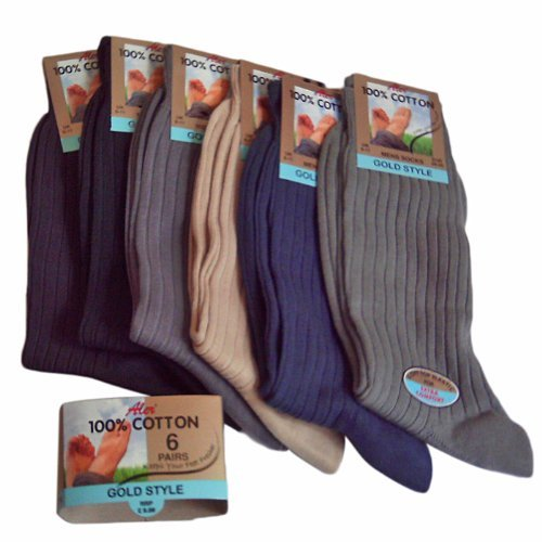 6 Pairs mens 100% cotton mixed colours socks