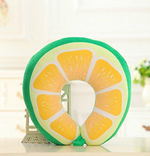 Flikool Fruta Estilo Almohada Forma de U Viaje Cuello Cojin Amortiguar para Avion Relajarse,Ocio U Shaped Pillow - Limon