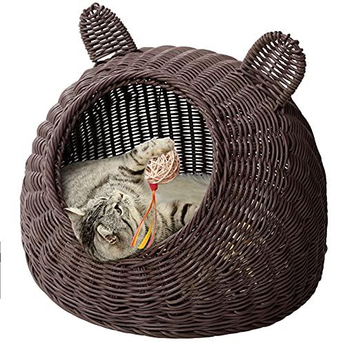 猫ハウス 猫ベッド ドーム型 手編み ペットソファ ペットベット 通気性 四季通用 ござ付き クッション付き おもちゃのボール付き (S, コーヒー)