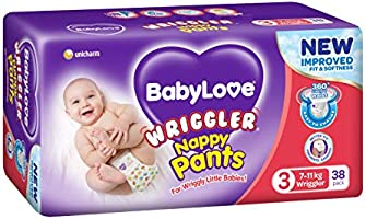 BabyLove Premium Nappy Pants, Size 3 (7-11kg), 76 Nappies (2x 38 pack)
