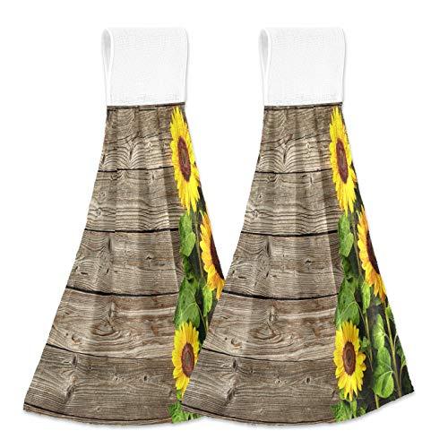 xigua Toallas secas a mano, juego de 2, con fondo de madera de girasol, suaves y absorbentes, para colgar, con cinta mágica, para cocina, baño, lavandería, 30,5 x 43,2 cm