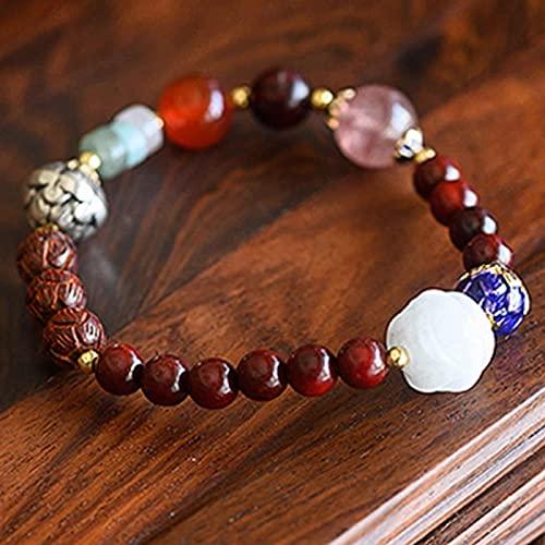 Pulsera Feng Shui Bead Feng shui riqueza pulsera multi-tesoro folleto natural sándalo rojo tibetano plata cloisonne lotus bead jade rose rojo ágata fresa cuarzo brazalete brazalete amuleto atrae la ri