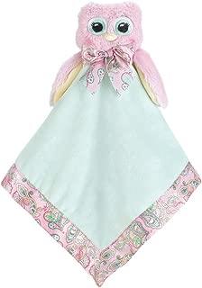 Bearington Baby Lil' Hoots Snuggler, Pink Owl Plush Stuffed Animal Security Blanket, Lovey 15