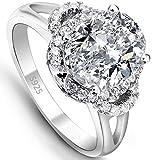 EVER FAITH® Argento 925 stile vintage ovale zirconi anello di fidanzamento Clear - Misura 12