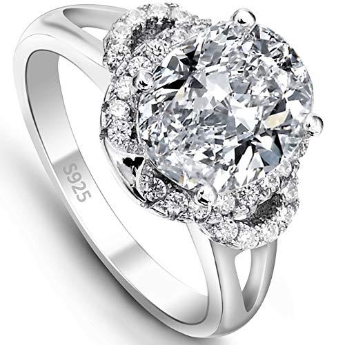 EVER FAITH® 925 Sterling Silber Vintage Stil Oval CZ Engagement Ring - Größe 56 (17.8) N06647-3