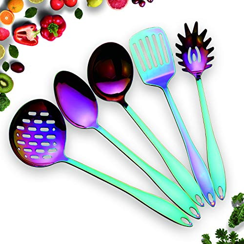 HOMQUEN Set di Utensili da Cucina colorato in Acciaio Inox-5 Utensili da Cucina, Set di Utensili antiaderanti da Cucina Color Arcobaleno