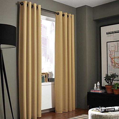 """Gorgeous Home LinenVarious of Colors & Sizes 1 PC #86, Solid Insulated Foam Backing Lined Blackout Hotel Quality Grommet Top, Jacquard Heavy Thick Texture, Window Curtain Panel (63"""" Length, Gold)"""