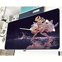 マウスパッドアニメの女の子剣ダンスマウスパッドノンスリップゴムベーステクスチャ付き耐摩耗性折りたたみ式マットパソコン用ラップトップオフィスデスクアクセサリーマウスパッドサイズ(800×300×3mm)