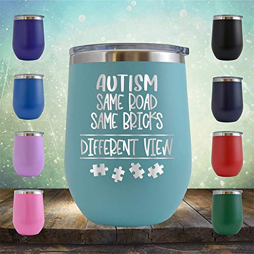 Autism Same Road Same Bricks - Vaso de vino sin tallo, 355 ml, regalo de cumpleaños para él, ella, esposa, padre, madre, madre, autista