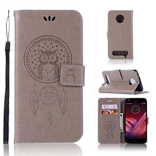 LMAZWUFULM Hülle für Motorola Moto Z2 Play (5,5 Zoll) PU Leder Magnetverschluss Brieftasche Lederhülle Eule & Traumfänger Muster Standfunktion Ledertasche Flip Cover für Motorola Z2 Play Grau