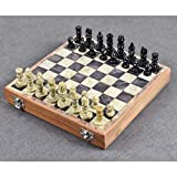 Marble Stone Chess Set Game Board Soapstone Chess Pieces Hand Carved Storage Inside Board Vintage Unique Best for Christmas Gifting (10'x10' Inches)