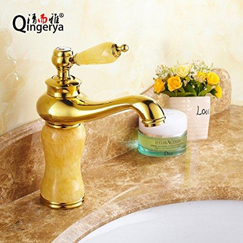 Maifeini _ cobre antiguo caliente y frío grifo retro europeo caliente y frío lavabo oro jade grifo