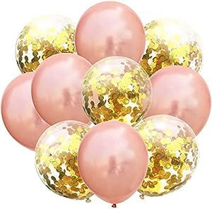 بالونات من اللاتكس بلون ذهبي وردي لتزيين حفلات الزفاف مع مضخة بالونات.