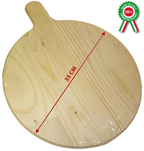 SF SAVINO FILIPPO Piatto Tagliere Vassoio in Legno Tondo di Portata per Pizza Pasta stuzzichini cibi Vari Alimenti Diametro 35 cm con Manico