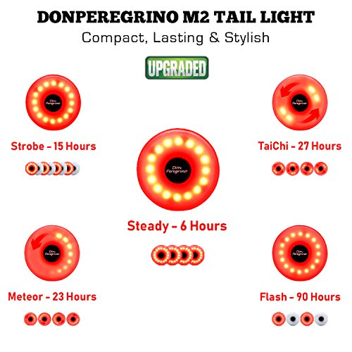 DONPEREGRINOM2-小型LED自転車尾灯電池寿命90時間も-USB再充電可能な自転車尾灯五種の安定したフラッシュモードつけ