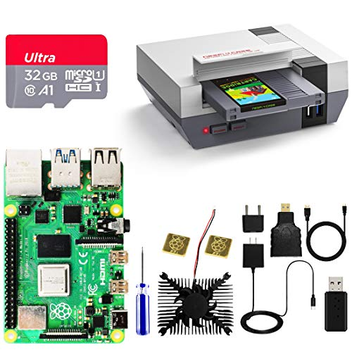 AKNES RETROFLAG Raspberry Pi 4 4GB Motherboard, NESPi 4 CASE with SSD CASE, 32GB SD Card, Cooling Fan, Micro HDMI Adapter/Cable, Heatsinks for Raspberry Pi 4 Model B