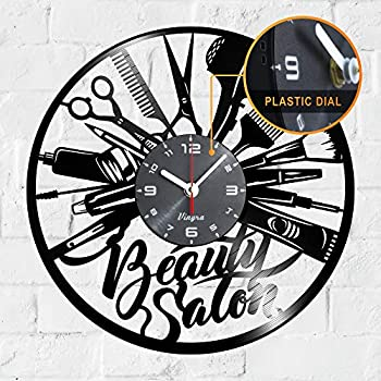 Beauty Salon Clock Vinyl - Beauty Salon Vinyl Record Wall LP Clock - Hairdresser Gifts for Hair Stylist - Beauty Salon Themed Art Wall Room Home Decor Hair Salon Wall Decorations Gift Set Clock Black