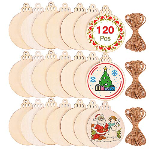 Max Fun 120Pcs Wood Slices 3.5' Wooden Diy Christmas Ornaments Unfinished Predrilled Wood Circles for Crafts Centerpieces Round Wooden Discs Hanging Decorations