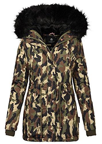 Marikoo Wow 16in1 Jacke Damen Winter Jacke Parka Mantel Fell Winterjacke B370 (XS, Camouflage - Army)