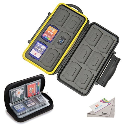 Deyard Water-Resistant Memory Card Case Shockproof Memory Card Carrying Box 24 Slots + Pouch Zippered Storage Memory Card Bag 22 Slots for SD SDHC MMC CF Micro SD Cards