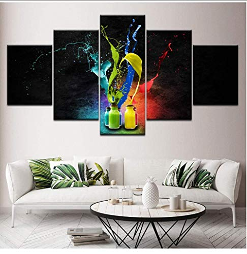 Daapplok Wohnzimmer Gedruckt Wohnkultur Leinwandbilder 5 Panel Farbe Flasche Abstrakte Splash Moderne Poster Wand Dekorative Malerei Kunst